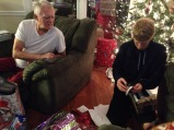 Dad and my son during the opening of gifts.